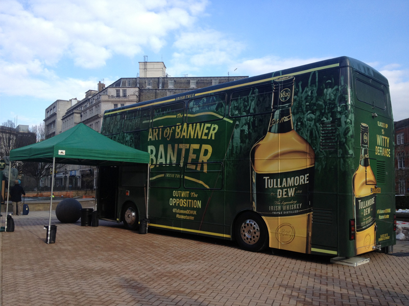 Irish Distiller wrapped with bus promotion - Image Reports